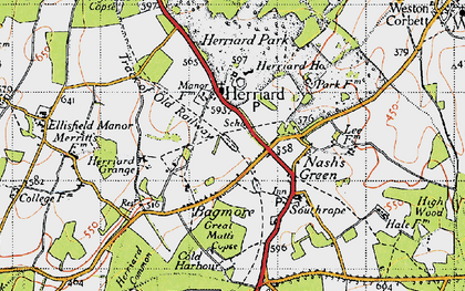 Old map of Herriard in 1945