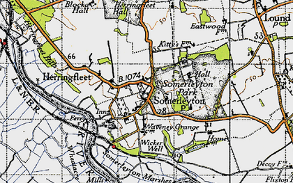Old map of Wicker Well in 1946