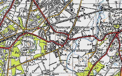 Old map of Hersham in 1945