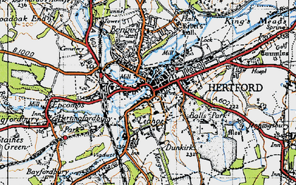 Old map of Hertford in 1946