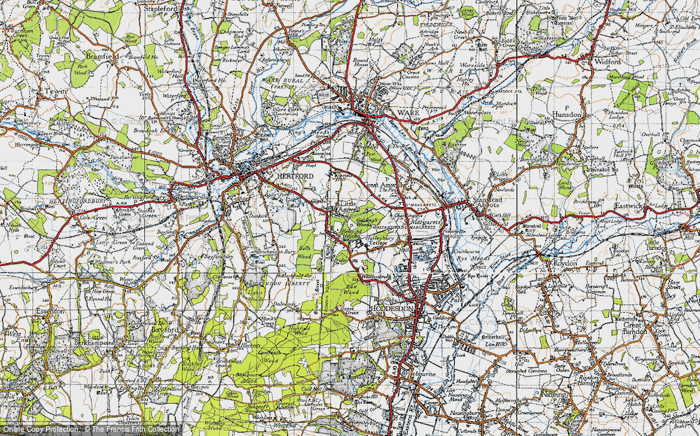 Old Map of Historic Map covering Balls Wood in 1946