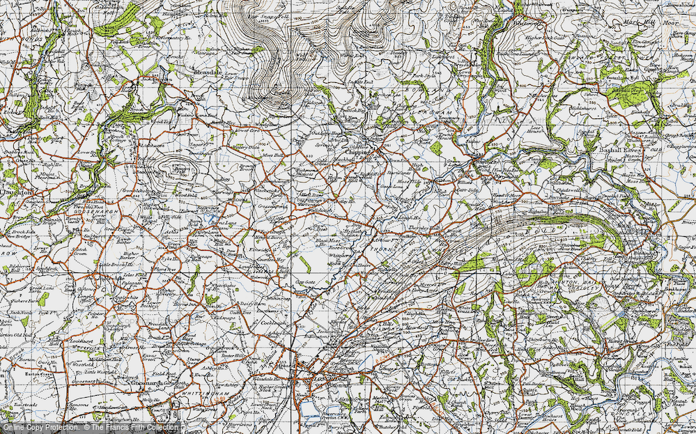 Old Map of Historic Map covering Leach Ho in 1947