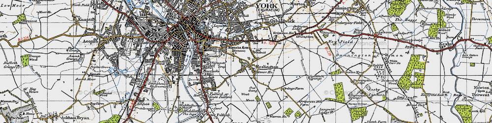 Old map of Heslington in 1947