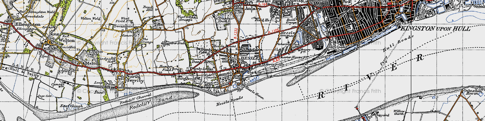 Old map of Hessle in 1947