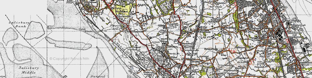 Old map of Heswall in 1947