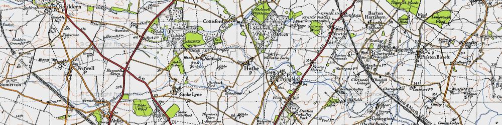 Old map of Willaston Village in 1946