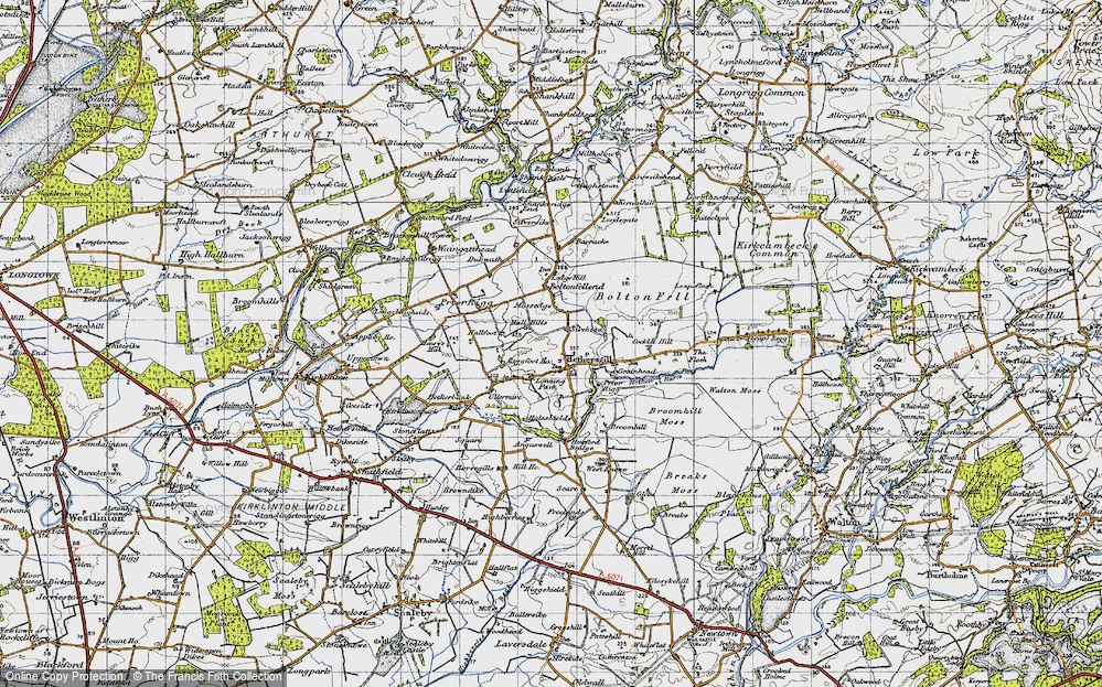 Old Map of Historic Map covering Leaps Rigg in 1947