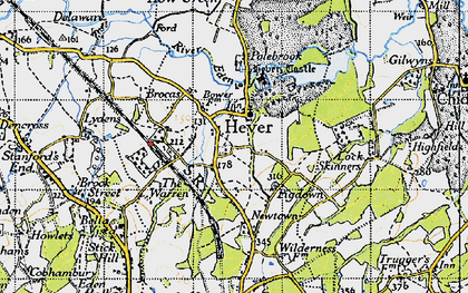 Old map of Hever in 1946
