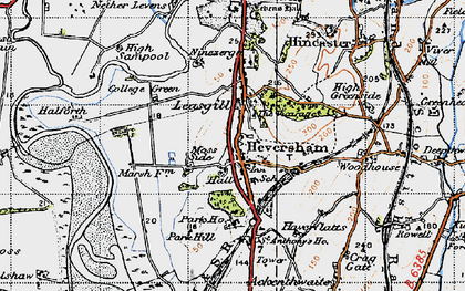 Old map of Heversham in 1947
