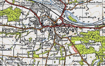 Old map of Hexham in 1947