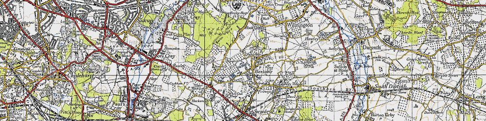 Old map of Hextable in 1946