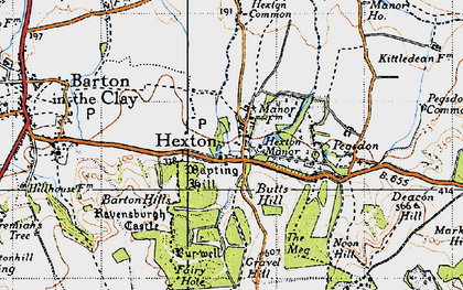 Old map of Hexton in 1946