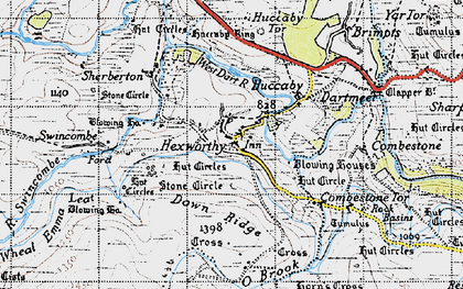 Old map of Aune in 1946