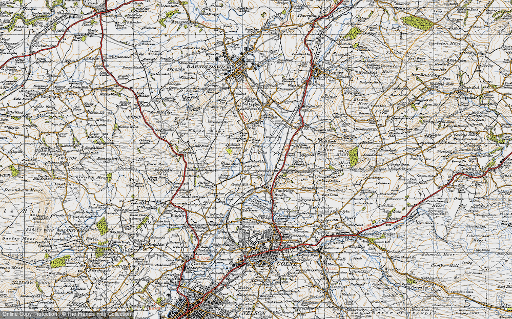 Old Map of Historic Map covering Admergill Pasture in 1947