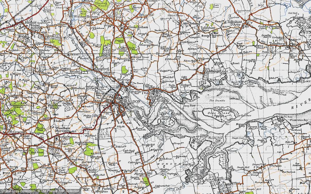 Old Map of Heybridge Basin, 1945 in 1945