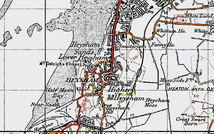 Old map of Heysham in 1947
