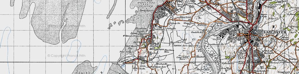 Old map of Heysham in 1947