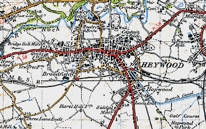Old map of Heywood in 1947