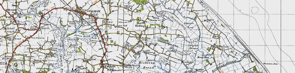 Old map of Hickling in 1945