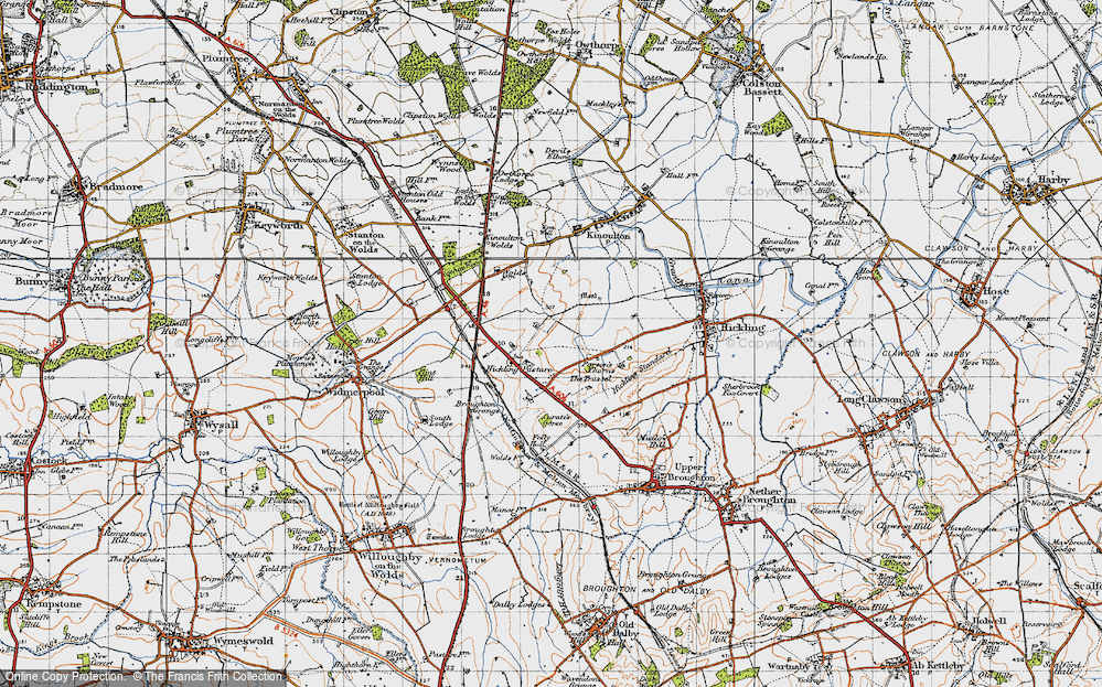 Old Map of Historic Map covering Lincoln Lodge in 1946
