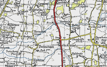 Old map of Hickstead in 1940
