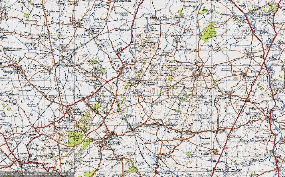 Old Map of Historic Map covering Baker's Hill in 1946