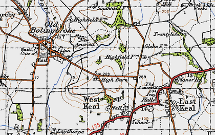 Old map of Wheelabout Wood in 1946