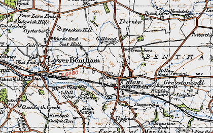 Old map of High Bentham in 1947