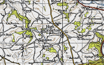 Old map of Bale's Ash in 1946