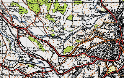 Old map of High Cross in 1947