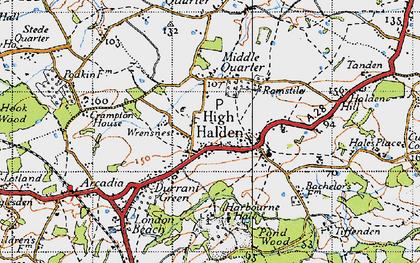Old map of High Halden in 1940