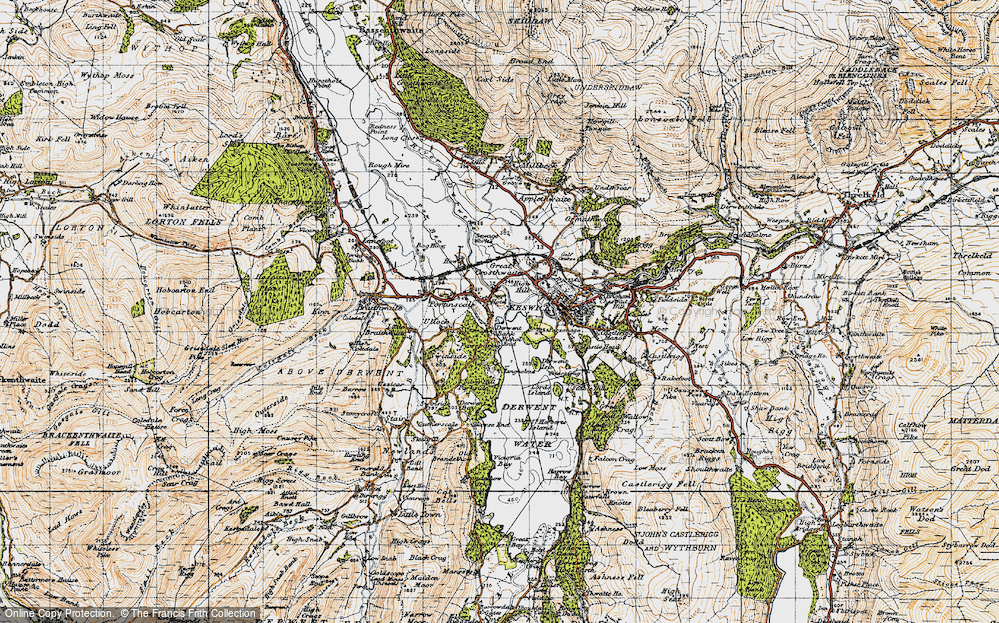 Old Map of Historic Map covering Lingholm in 1947