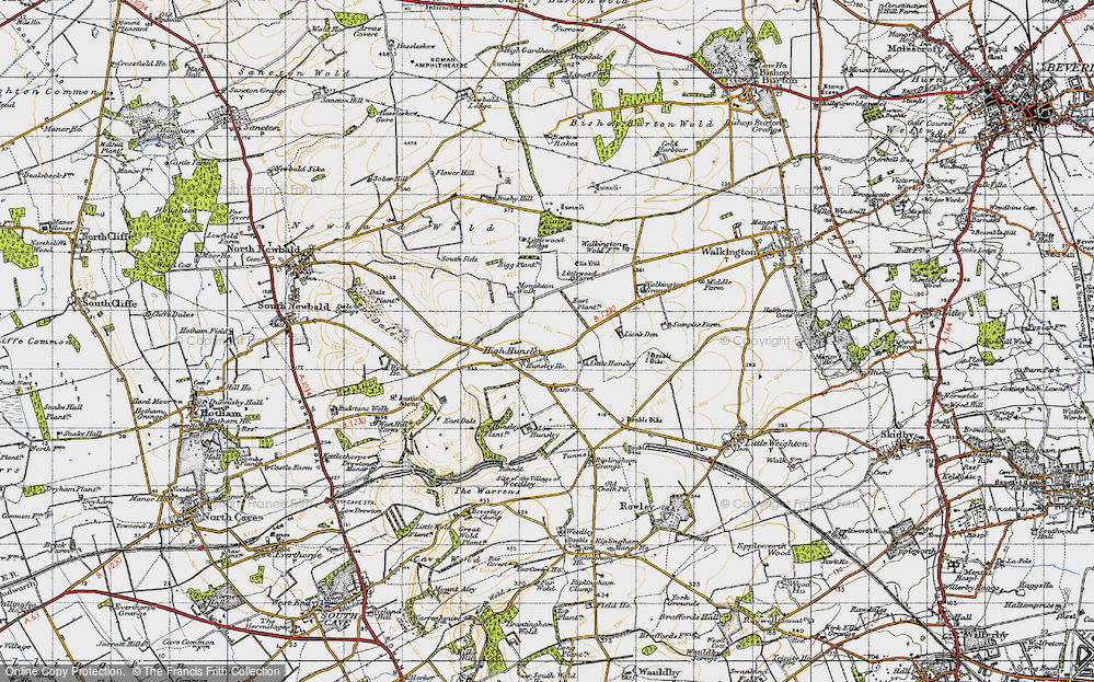 Old Map of Historic Map covering Lion's Den in 1947