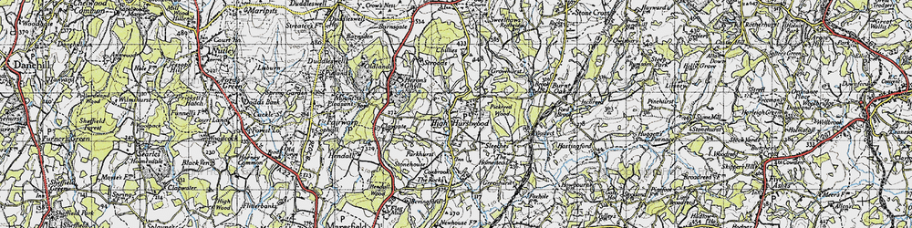 Old map of High Hurstwood in 1940