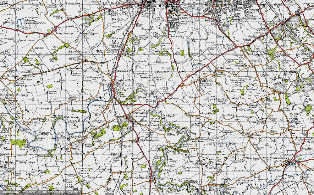 Old Map of Historic Map covering Leven Bridge in 1947