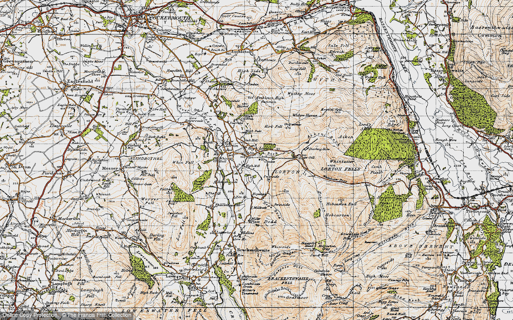 Old Map of Historic Map covering Whit Beck in 1947