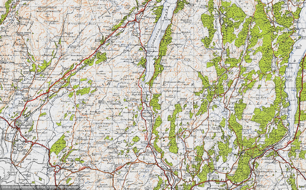 Old Map of Historic Map covering Allan Tarn in 1947
