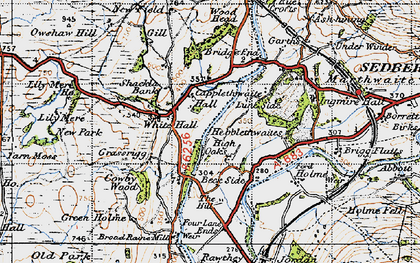 Old map of White Hall in 1947