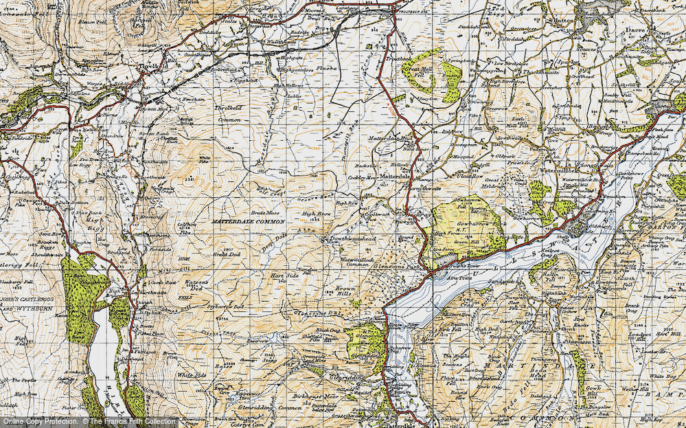Old Map of Historic Map covering Aira Beck in 1947