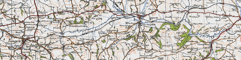 Old map of Afon Cwm-Waun-gron in 1946