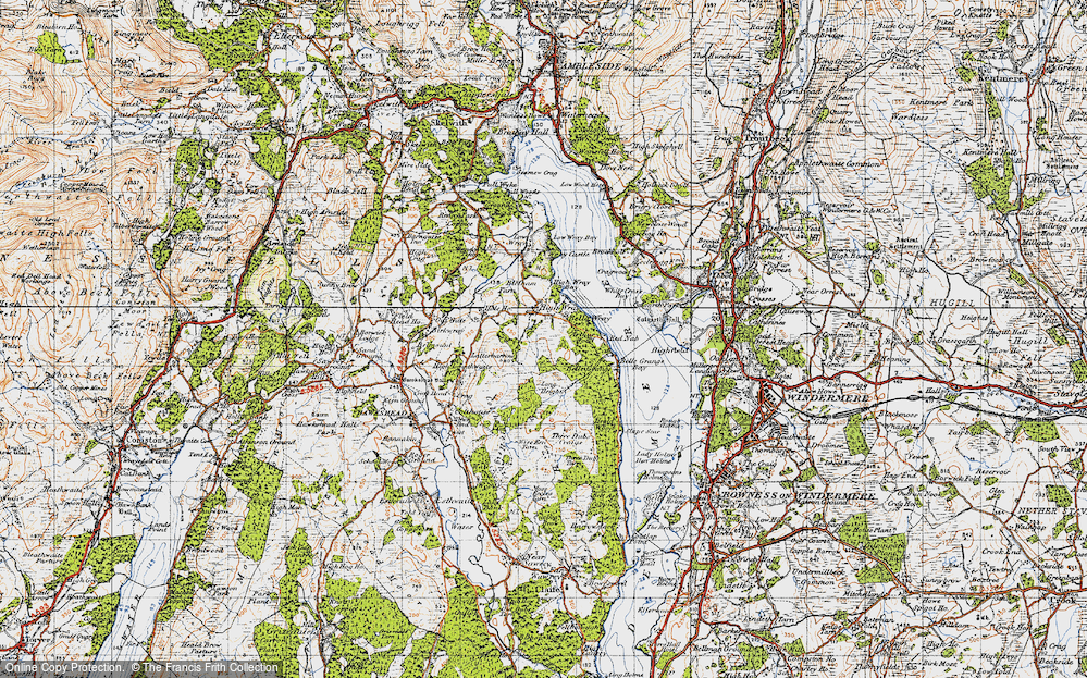 Old Map of Historic Map covering Arthur Wood in 1947
