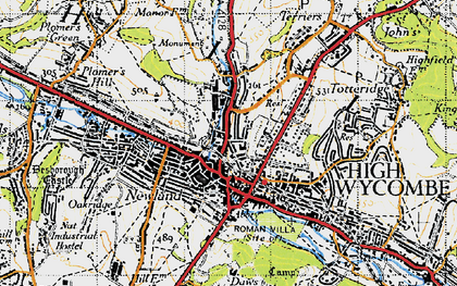 Old map of High Wycombe in 1947
