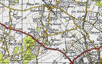 Old map of Higham in 1946