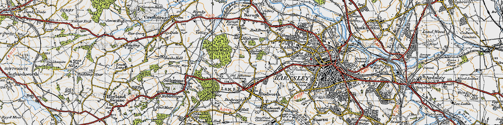 Old map of Higham Common in 1947