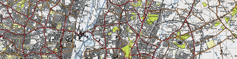 Old map of Highams Park in 1946