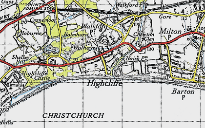 Old map of Highcliffe in 1940