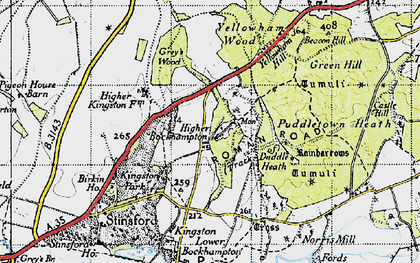 Old map of Higher Bockhampton in 1945