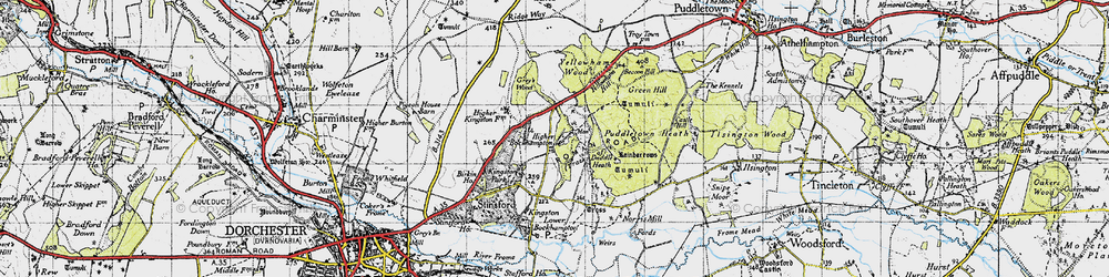 Old map of Yellowham Wood in 1945