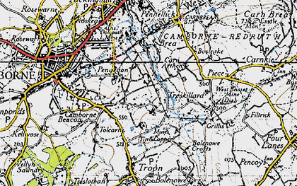 Old map of Higher Condurrow in 1946