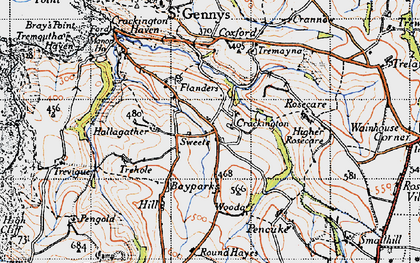 Old map of Higher Crackington in 1946